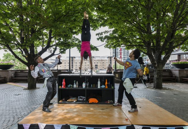 01.07.2015. Bar Story by Etta Ermini Dance Theatre at GDIF2015 at Wren Landing, Canary Wharf London, UK. Photo - © Foteini Christofilopoulou.