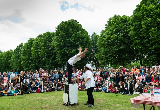 Production photos of Etta Ermini Dance Theatres' 'Culinary Duel' with Nathan Johnston & Niko Von Harlekin at Greenwich & Docklands International Festival 2017.